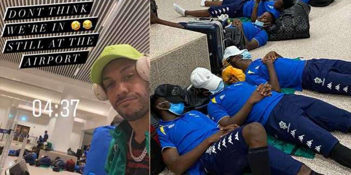 ICYMI: Aubameyang échoué et ses coéquipiers du Gabon dorment à l'étage de l'aéroport | PHOTOS